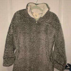 Grey/white Fuzzy Teddy Pullover